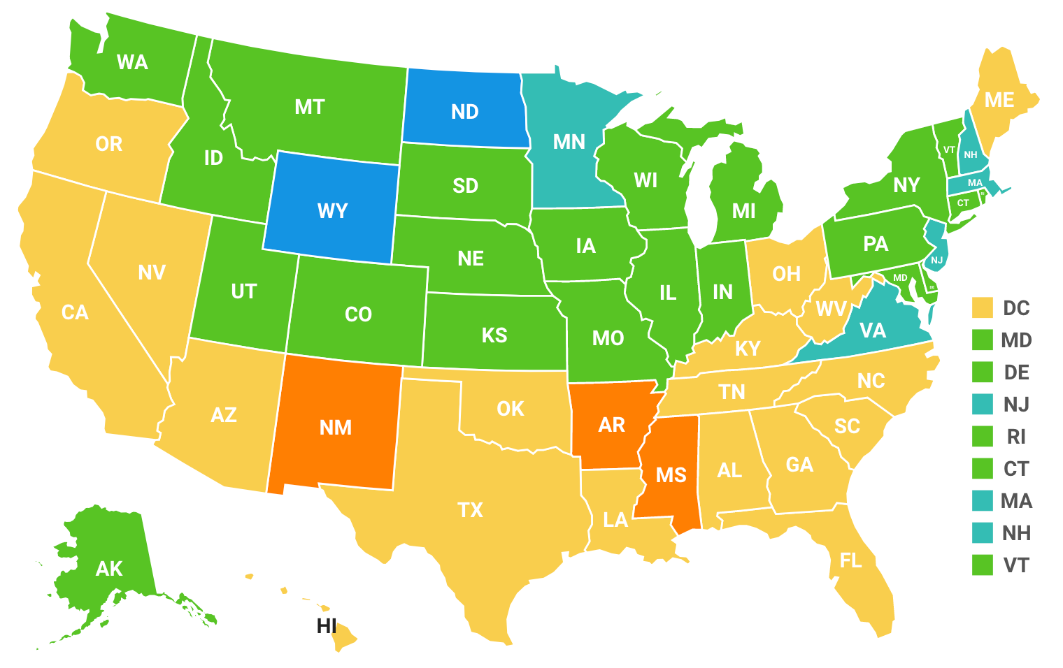 Map of the United States showing food insecurity around the country