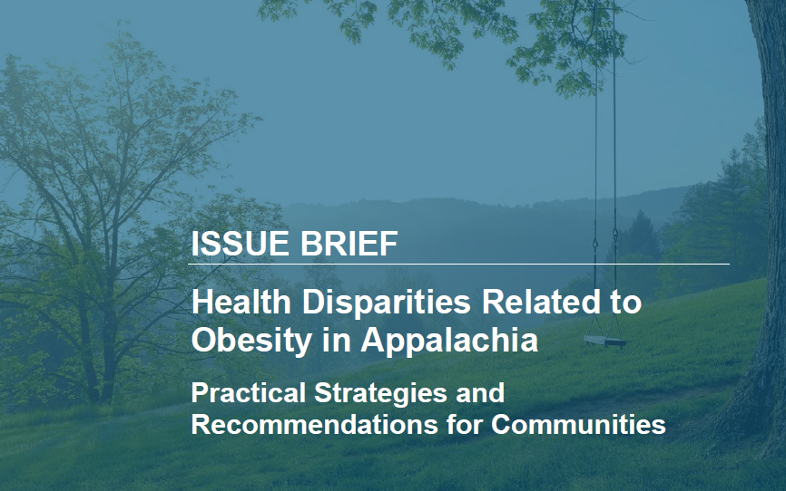 Cover of an issue brief presentation over health disparities related to obesity in Appalachia