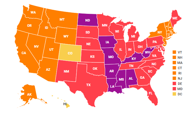 National map of 2018 adult obesity rates by state