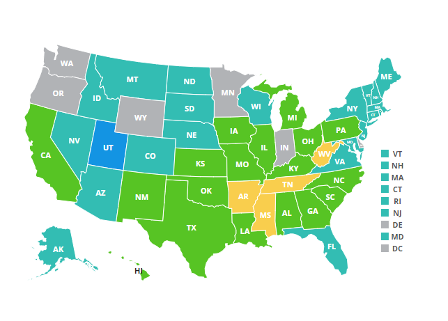 National map of high school obesity rates