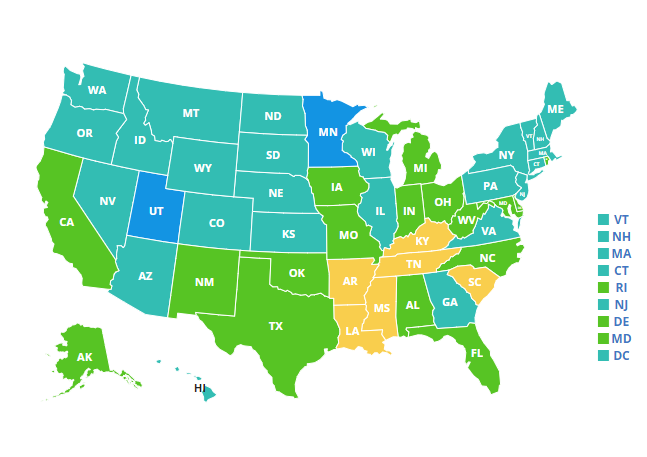 National map of obesity rates for youth ages 10 to 17