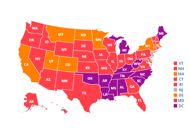 Map showing 2020 adult hypertension rates in the U.S.