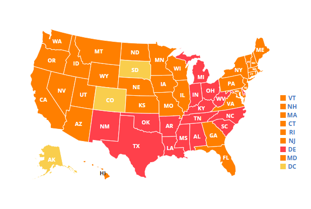 Map showing 2020 adult diabetes rates in the U.S.